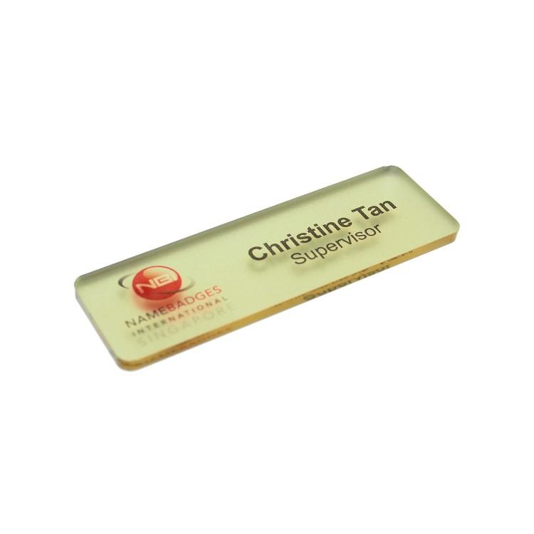 Fashion Name Badge Ice Gold Mirror Matte Metallic