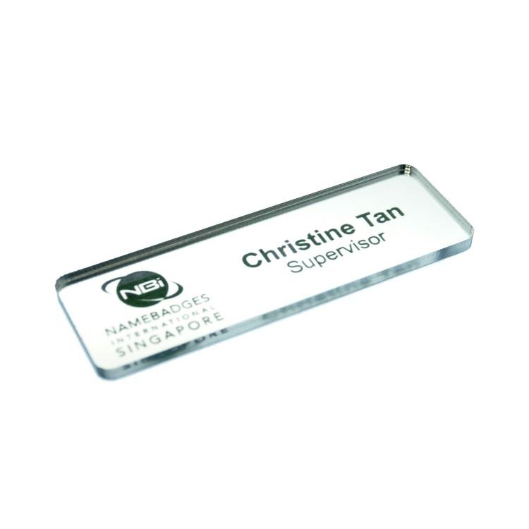 Fashion Name Badges Platinum Mirror Non Glare Metallic