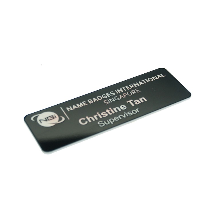 Standard Name Badge Gloss Black Background with white base colour