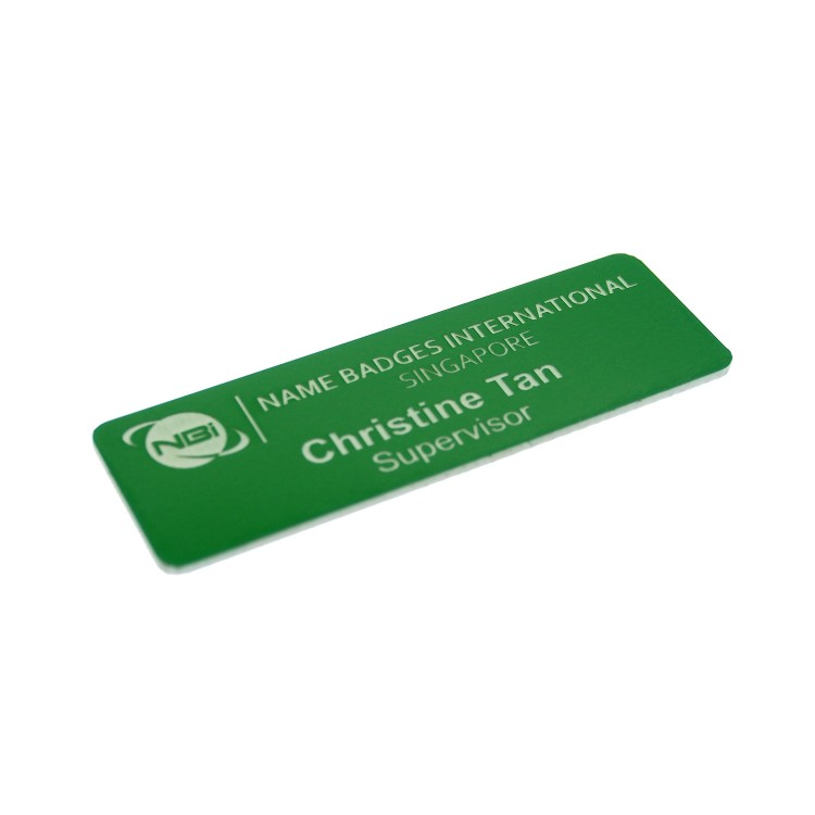 Standard Name Badge Kelly Green Background with white base colour