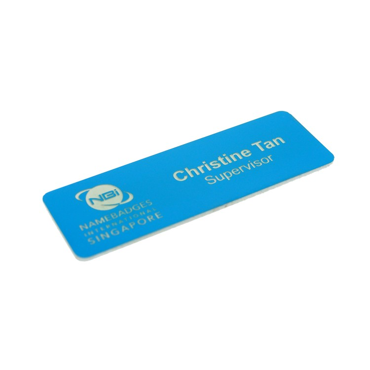Standard Name Badge Light Blue Background with white base colour
