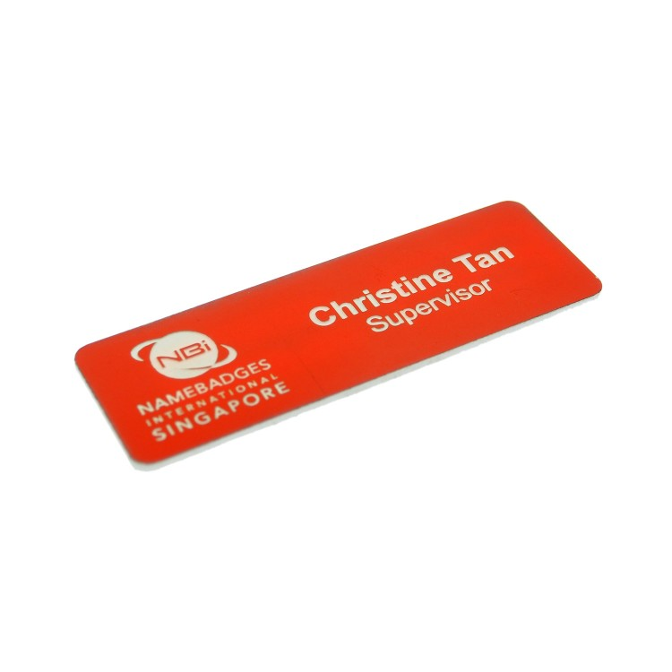 Standard Name Badge Orange Background with white base colour