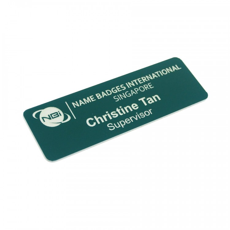 Standard Name Badge Evergreen Background with white base colour