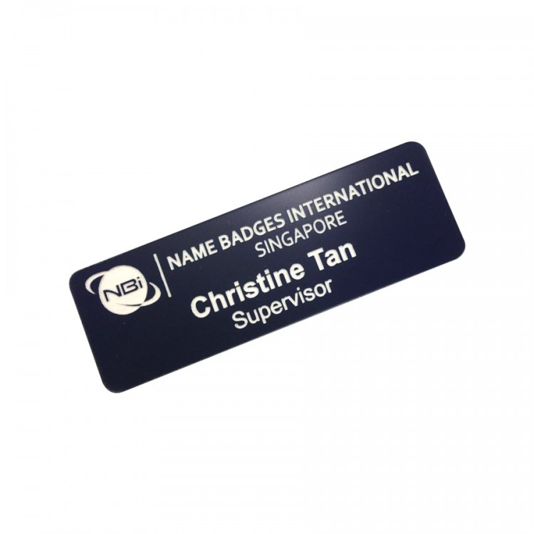 Standard Name Badge Navy Blue Background with white base colour