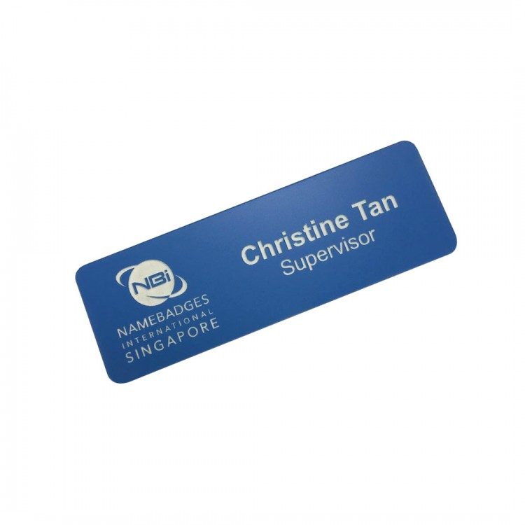 Standard Name Badge Sapphire Blue Background with white base colour