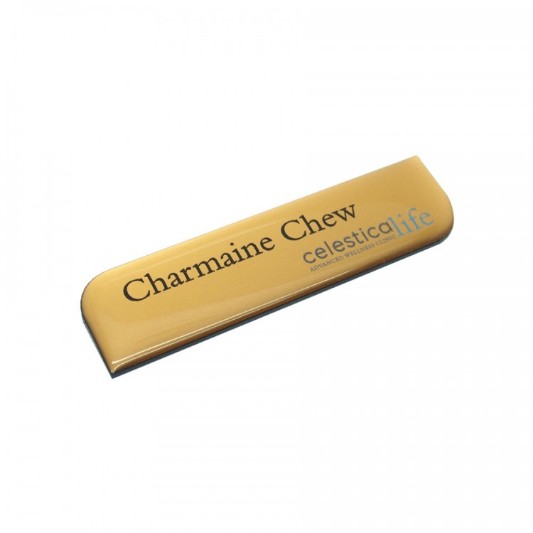 Standard Name Badge Smooth Gold Background with black base colour