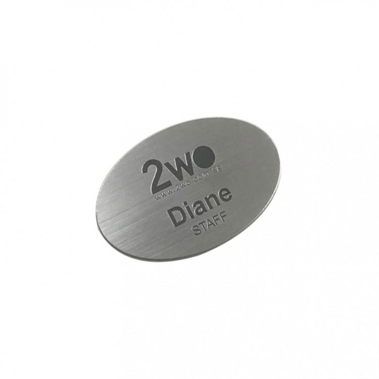 Standard Name Badge Brushed Silver Background with black base
