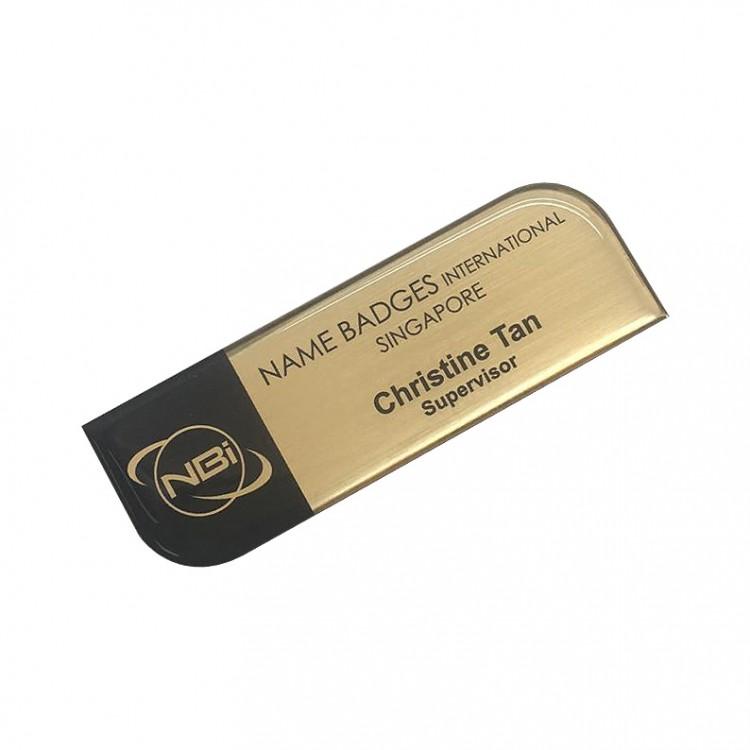 Standard Name Badge Brushed Gold Background with black base colour