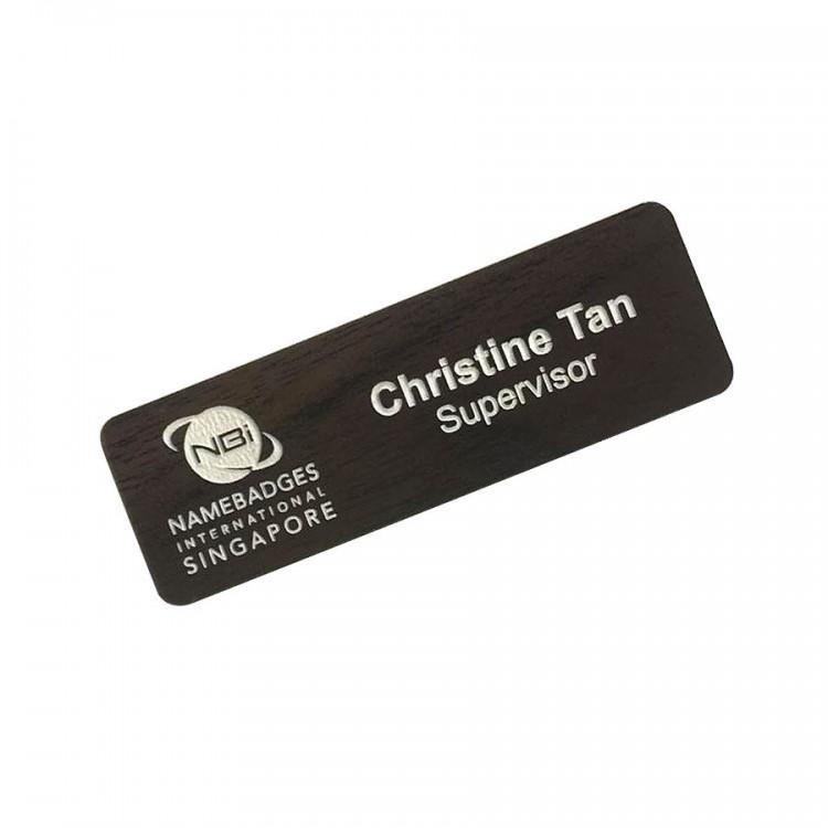 Standard Name Badge English Walnut Background with white base colour