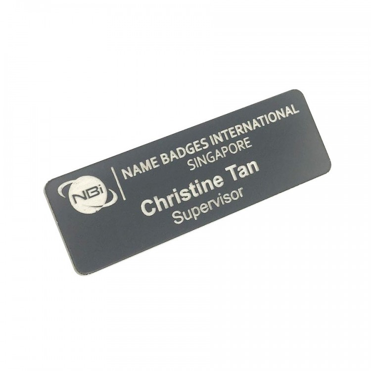Standard Name Badge Grey Background with white base colour