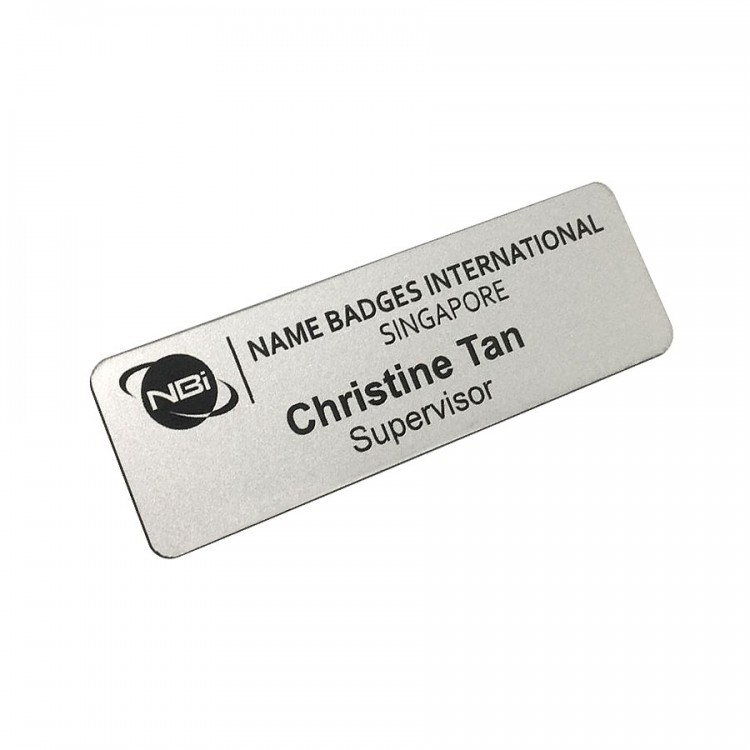 Standard Name Badge Smooth Silver Background with black base colour
