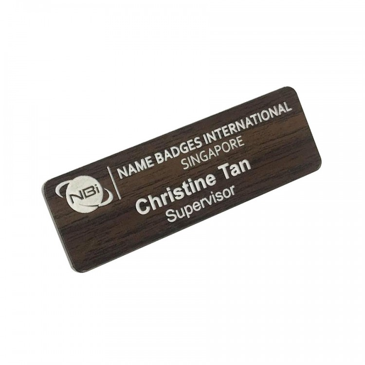 Standard Name Badge Walnut Background with white base colour
